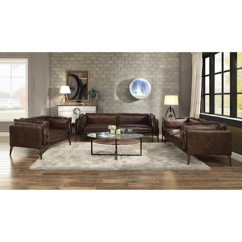 ACME Porchester Loveseat in Distressed Chocolate Top Grain Leather