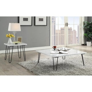 ACME Telestis End Table in Marble and Black