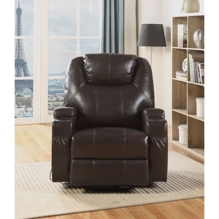 ACME Waterlily Swivel Rocker Recliner with Massage in Brown