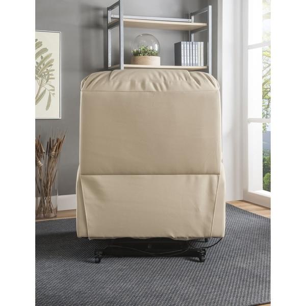 ACME Ixora Power Lift Massage Recliner in Beige Leatherette