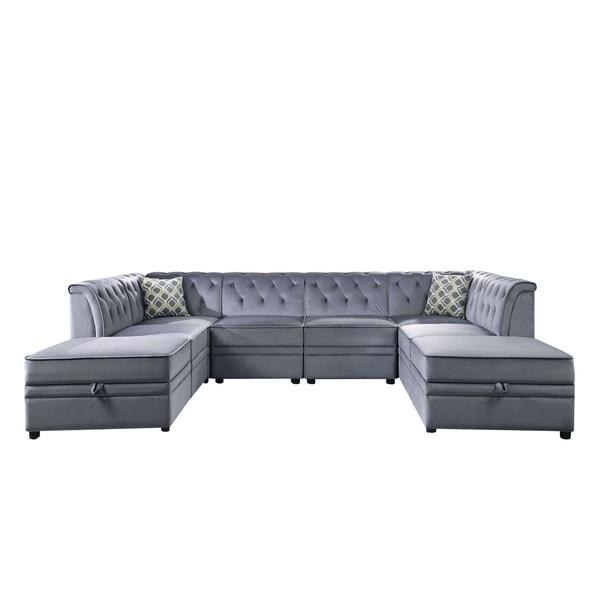 Acme Bois Ii Storage Ottoman Section Modular Sofa In Gray Velvet