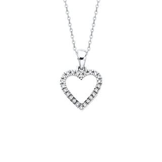 14K White Gold 1 4ct TDW Diamond Heart Pendant I J I1