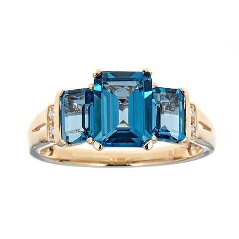 10K YG London Blue Topaz & Diamond Ring by Anika and August - White