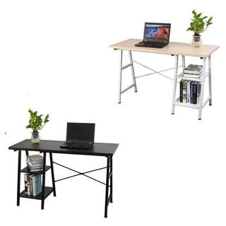 Wooden Office Workstation L Laptop PC Table Computer Desk w/ Shelf 2 Colors