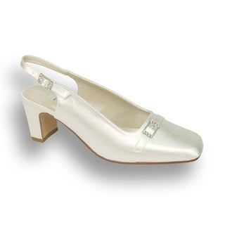 FLORAL Daisy Women Extra Wide Width Satin Dyeable Bridal Pump Shoes