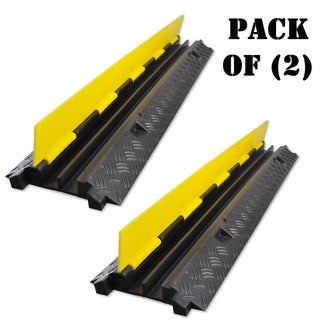 Pack of 2 - Pyle PCBLCO26 Durable Cable Ramp Protective Cover 2000 lbs Max Heavy Duty Hose & Cable Track Protector - YELLOW