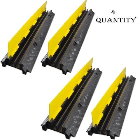 Lot of 4 - Pyle PCBLCO26 Durable Cable Ramp Protective Cover 2000 lbs Max Heavy Duty Hose & Cable Track Protector - Yellow