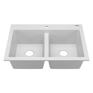 Whitney Dual-Mount Granite Composite Double Bowl Kitchen Sink White