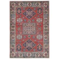 Herat Oriental Afghan Hand-knotted Kazak Vegetable Dye Wool Rug (2'7 x 3'9)