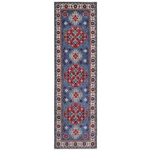 Handmade One-of-a-Kind Kazak Vegetable Dye Wool Runner (Afghanistan) - 2'6 x 9'4