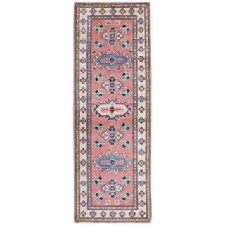 Herat Oriental Afghan Hand-knotted Kazak Vegetable Dye Wool Runner (1'10 x 5'7)