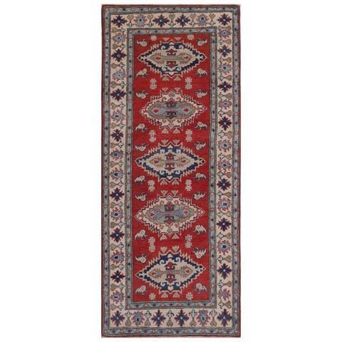Handmade One-of-a-Kind Kazak Vegetable Dye Wool Runner (Afghanistan) - 2'9 x 6'8