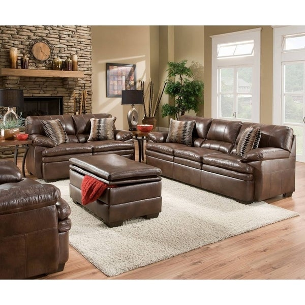 Simmons Upholstery Editor Brown Bonded Leather Loveseat