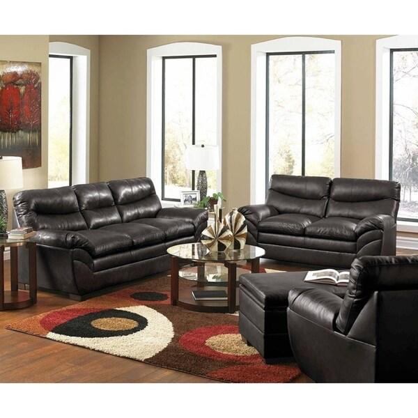 Shop Simmons Upholstery Soho Onyx Bonded Leather Loveseat