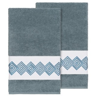 Authentic Hotel and Spa Turkish Cotton Diamonds Embroidered Teal Blue 2-piece Bath Towel Set