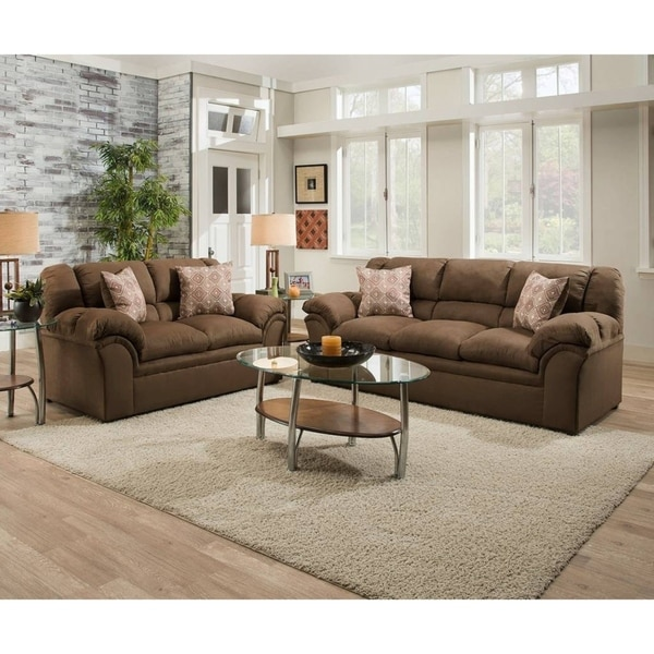 Shop Simmons Upholstery Venture Chocolate Sofa On Sale Free