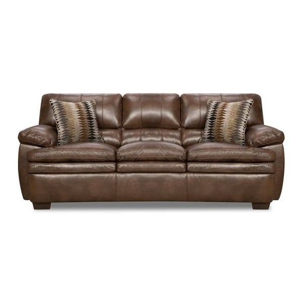 Shop Simmons Upholstery Editor Brown Bonded Leather Sofa - On Sale ...