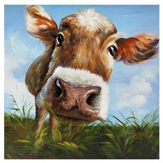 Hello, Is It Me You Are Looking For? Hand Painted Cow Canvas