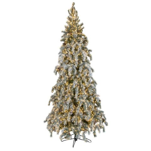 Forever Tree 12' Snowy Slim Aspen Pine w Cones w Remote ( 8 Functions)