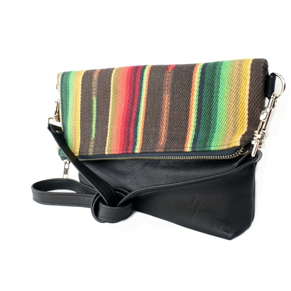 Handmade D. Franca Designs Crossbody Foldover Clutch Handbag - Black Leather and Sundance Stripe Fabric (Italy)
