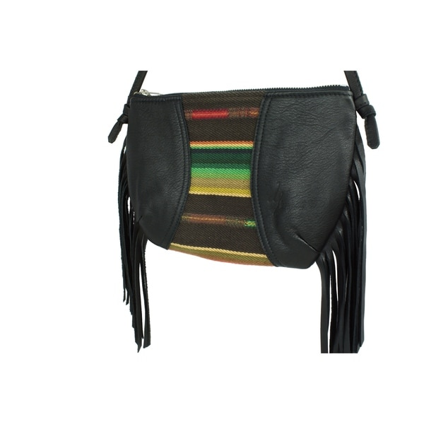 Handmade D. Franca Designs Crossbody Mini Side Fringe Handbag- Black Leather and Sundance Stripe Fabric (Italy)