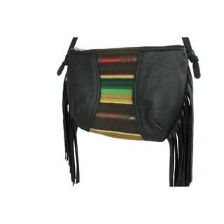 Handmade D. Franca Designs Crossbody Mini Side Fringe Handbag- Black Leather and Sundance Stripe Fabric (Italy)
