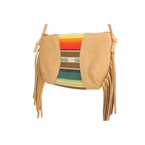 Handmade D. Franca Designs Crossbody Mini Side Fringe Handbag- Tan Leather and Rio Grande Stripe Fabric (Italy)
