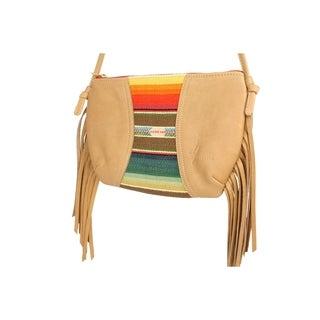 Handmade D. Franca Designs Crossbody Mini Side Fringe Handbag- Tan Leather and Rio Grande Stripe Fabric