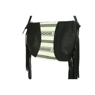 Handmade D. Franca Designs Crossbody Mini Side Fringe Handbag- Black Leather and Oslo Stripe Fabric (Italy)
