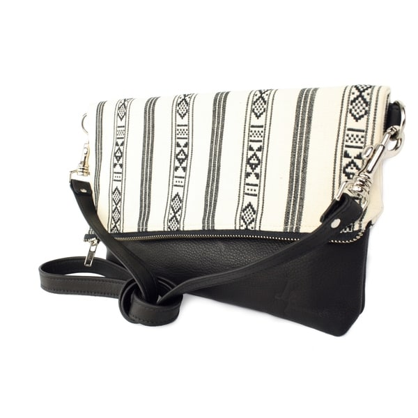 Handmade D. Franca Designs Crossbody Foldover Clutch Handbag - Black Leather and Oslo Stripe Fabric (Italy)