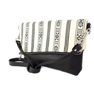 Handmade D. Franca Designs Crossbody Foldover Clutch Handbag - Black Leather and Oslo Stripe Fabric (Italy)