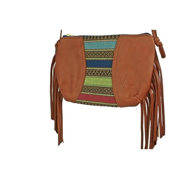 Handmade D. Franca Designs Crossbody Mini Side Fringe Handbag- Brown Leather and Aztec Stripe Fabric (Italy)