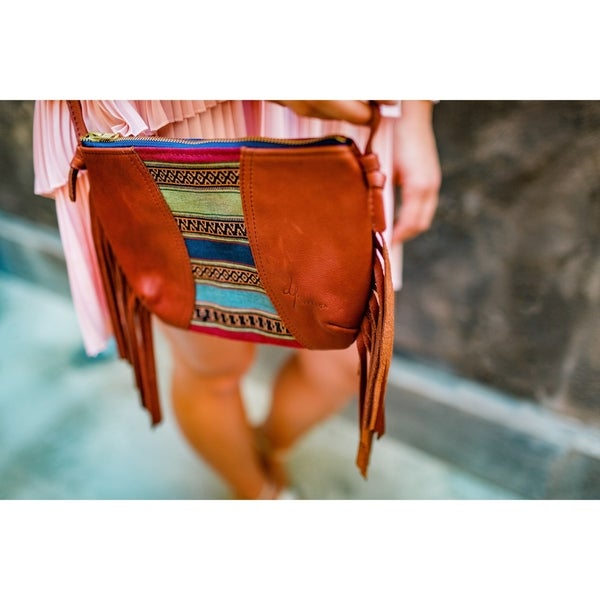 Handmade leather purse with fringe  small mustard yellow