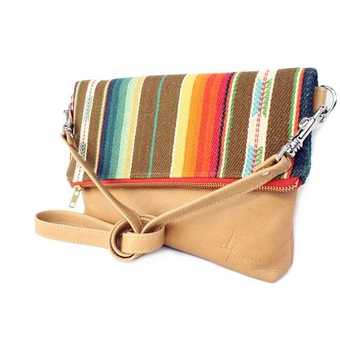 Handmade D. Franca Designs Crossbody Foldover Clutch Handbag - Tan Leather and Rio Grande Stripe Fabric (Italy)