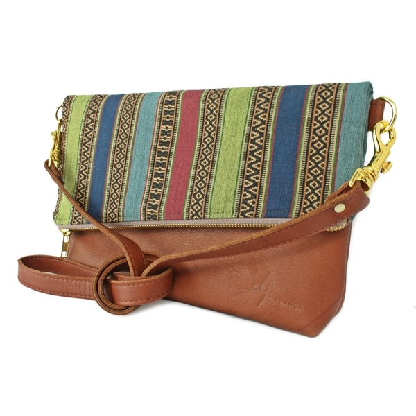Handmade D. Franca Designs Crossbody Foldover Clutch Handbag - Brown Leather and Aztec Stripe Fabric (Italy)