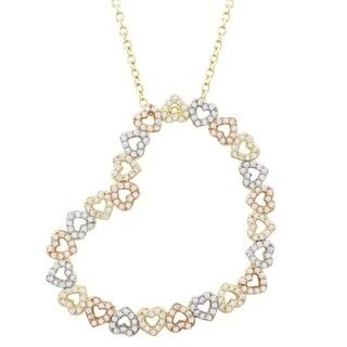 Luxiro Sterling Silver Tri-color Finish Cubic Zirconia Striking Open Heart Pendant