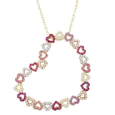 Luxiro Sterling Silver Tri-color Finish Lab-created Ruby with CZ's Open Heart Pendant