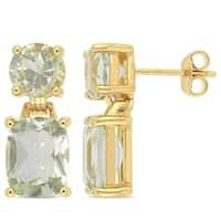 Miadora Yellow Plated Sterling Silver Cushion-Cut Green Amethyst Drop Earrings