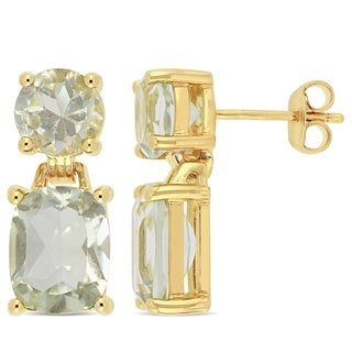 Miadora Yellow Plated Sterling Silver Cushion-Cut Green Amethyst Drop Earrings