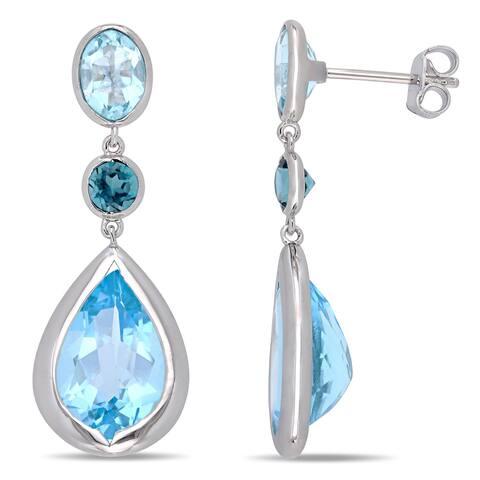 Miadora Sterling Silver Sky and London-Blue Topaz 3-tier Link Teardrop Earrings