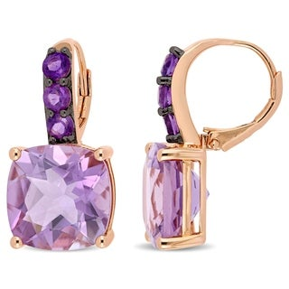 Miadora Rose Plated Sterling Silver 15 1/2ct TGW Rose De France and Amethyst Drop Earrings