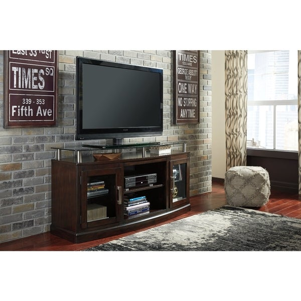 Signature Design by Ashley Chanceen Dark Brown Medium TV Stand with Fireplace Option 37693774