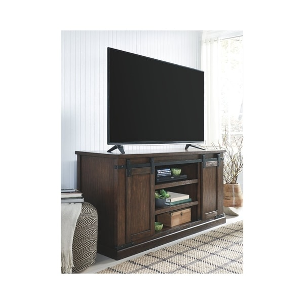 Shop Signature Design By Ashley Budmore Rustic Brown Large Tv Stand