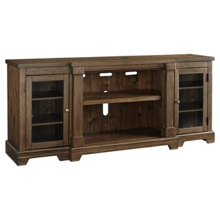 Signature Design by Ashley Flynnter Chestnut Veneer XL TV Stand with Fireplace Option