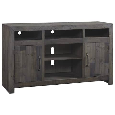 Signature Design by Ashley Mayflyn Large Charcoal Grey TV Stand with Fireplace Option