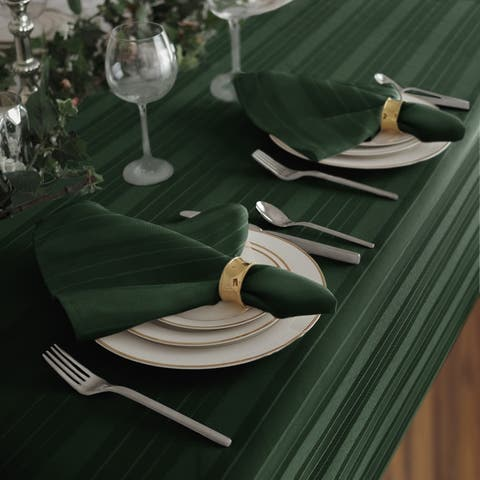 Elrene Denley Stripe Damask Fabric Set of 4 Napkins