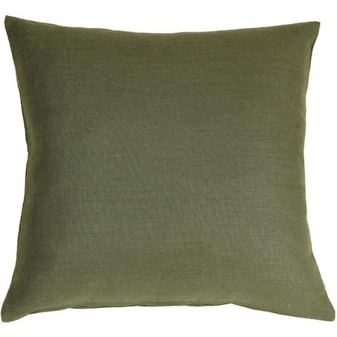 Pillow Decor - Tuscany Linen Fig Green 20x20 Throw Pillow