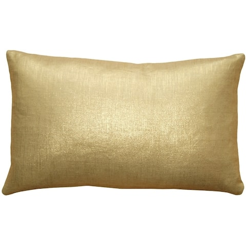 Pillow Decor - Tuscany Linen Gold Metallic 12x20 Throw Pillow