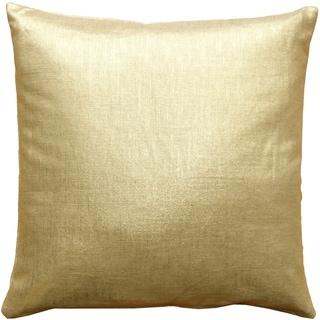 Pillow Decor - Tuscany Linen Gold Metallic 20x20 Throw Pillow