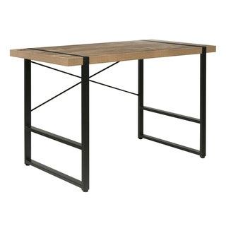 Bourbon Foundry Writing Desk, Wood and Black Steel